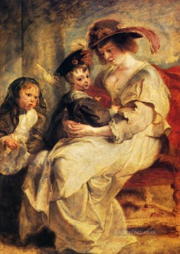 child Painting - Peter Paul Helene Fourment With Two Of Her Children Claire Jeanne And Francois Rubens