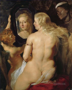 Peter Oil Painting - Venus at a Mirror Baroque Peter Paul Rubens