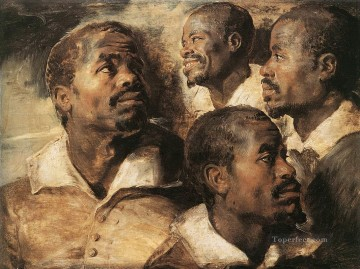 Four Studies of the Head of a Negro Baroque Peter Paul Rubens Oil Paintings