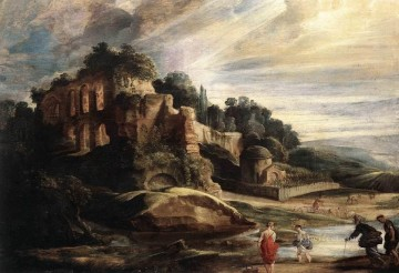 Peter Oil Painting - Landscape with the Ruins of Mount Palatine in Rome Baroque Peter Paul Rubens