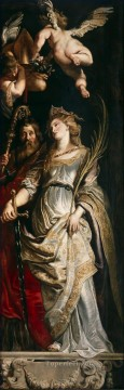the Canvas - Raising of the Cross Sts Eligius and Catherine Baroque Peter Paul Rubens
