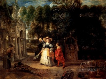 garden Oil Painting - Rubens In His Garden With Helena Fourment Baroque Peter Paul Rubens