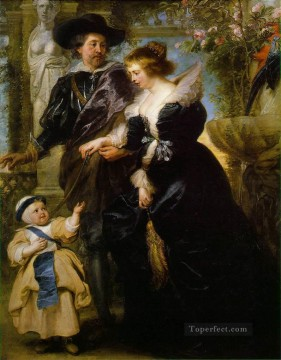 Peter Oil Painting - Rubens his wife Helena Fourment and their son Peter Paul Baroque Peter Paul Rubens