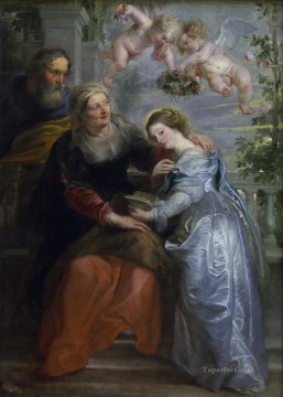 Peter Oil Painting - The Education of the Virgin Baroque Peter Paul Rubens