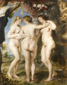 horse racing races sport Painting - The Three Graces Baroque Peter Paul Rubens