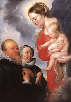 madonna and child with the donors alexandre goubeau and his wife anne antoni Peter Paul Rubens Oil Paintings