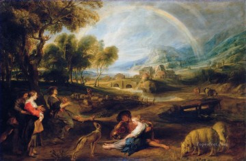 Peter Oil Painting - Landscape with a Rainbow 1632 Baroque Peter Paul Rubens