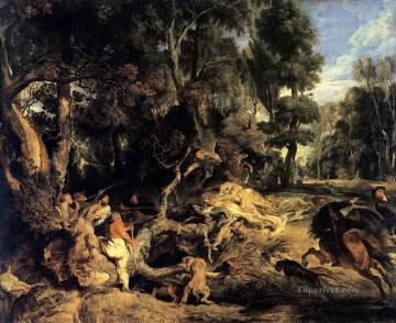 hunt Painting - Boar Hunt Peter Paul Rubens