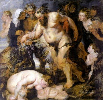 Peter Oil Painting - Drunken Silenus Baroque Peter Paul Rubens