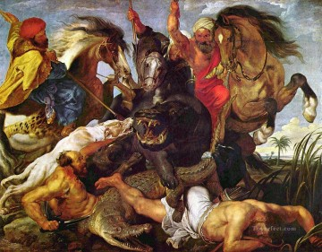 Peter Oil Painting - Hippopotamus and Crocodile Hunt Baroque Peter Paul Rubens