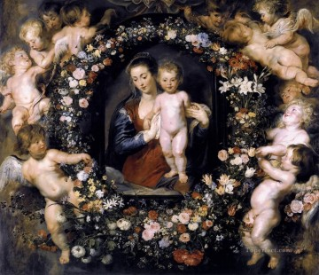 Madonna in Floral Wreath Baroque Peter Paul Rubens Oil Paintings