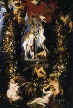 Nature Painting - Nature Adorning the Three Graces Peter Paul Rubens