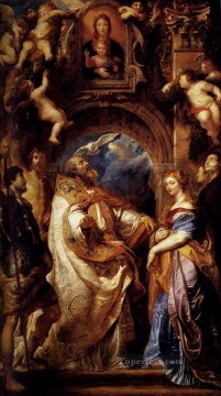 Saint Gregory With Saints Domitilla Maurus And Papianus Baroque Peter Paul Rubens Oil Paintings