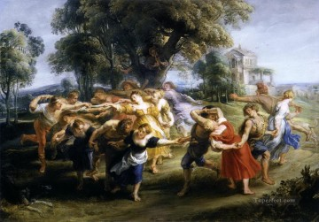 Italian Painting - dance of italian villagers Peter Paul Rubens