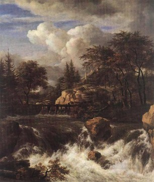 waterfall Painting - Waterfall IN A Rocky Landscape Jacob Isaakszoon van Ruisdael