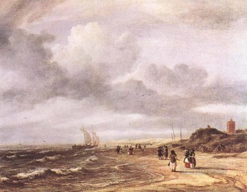 Shore Painting - The Shore At Egmond an Zee Jacob Isaakszoon van Ruisdael