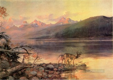 Lake Oil Painting - Deer at Lake McDonald landscape western American Charles Marion Russell