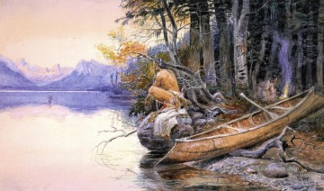 Lake Oil Painting - Indian Camp Lake McDonald Indians western American Charles Marion Russell
