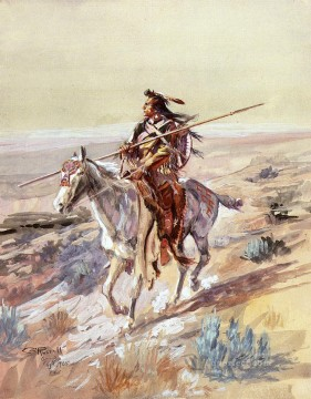 western Art - Indian with Spear Indians western American Charles Marion Russell