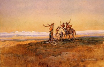 Charles Oil Painting - Invocation to the Sun Indians western American Charles Marion Russell