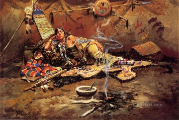 Charles Oil Painting - Waiting and Mad Indians western American Charles Marion Russell