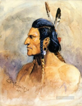 indian brave 1898 Charles Marion Russell Oil Paintings