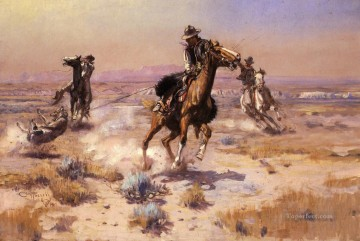 At Ropes End western American Charles Marion Russell Oil Paintings