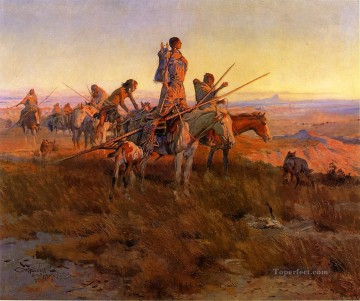 American Art Painting - In the Wake of the Buffalo Hunters Indians western American Charles Marion Russell