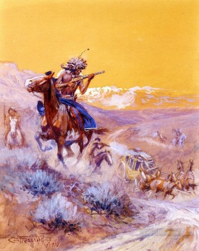Indian Attack Indians western American Charles Marion Russell Oil Paintings