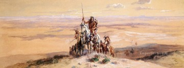 Indians on Plains Indians western American Charles Marion Russell Oil Paintings
