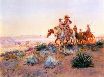 Mexican Buffalo Hunters cowboy Indians western American Charles Marion Russell Oil Paintings