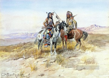 On the Prowl Indians western American Charles Marion Russell Oil Paintings