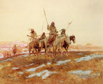 hunt Painting - Piegan Hunting Party Indians western American Charles Marion Russell