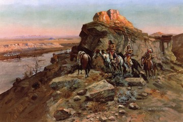 American Art Painting - Planning the Attack Indians western American Charles Marion Russell