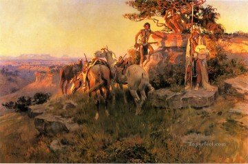 Watching for Wagons western American Charles Marion Russell Oil Paintings