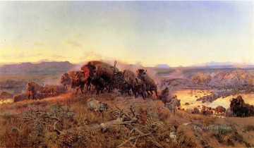American Art Painting - When the Land Belonged to God cattle western American Charles Marion Russell