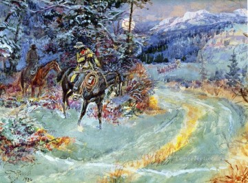 an unscheduled stop 1926 Charles Marion Russell Oil Paintings