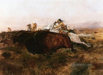 buffalo hunt 10 1895 Charles Marion Russell Oil Paintings