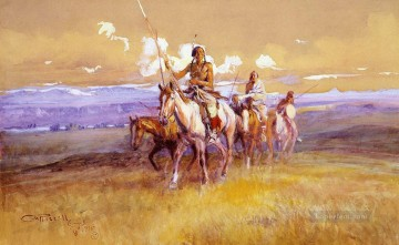 indian party 1915 Charles Marion Russell Oil Paintings
