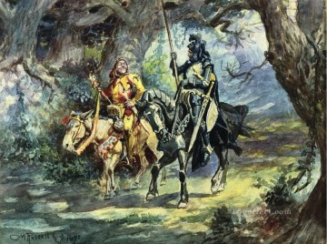 knight and jester 1896 Charles Marion Russell Oil Paintings