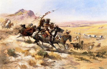 American Art Painting - Attack on a Wagon Train Indians western American Charles Marion Russell