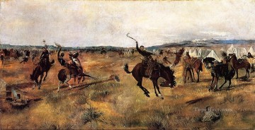 Russell Canvas - Breaking Camp western American Charles Marion Russell