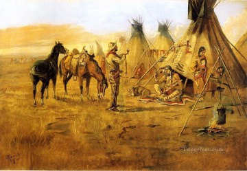 Charles Oil Painting - Cowboy Bargaining for an Indian Girl cowboy Indians western American Charles Marion Russell