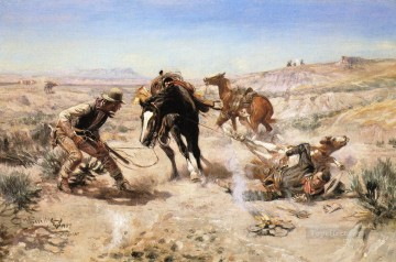 The Cinch Ring western American Charles Marion Russell Oil Paintings