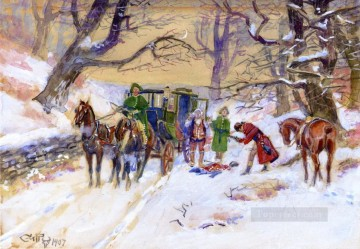 Charles Marion Russell Painting - holdup on the boston road 1907 Charles Marion Russell
