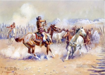 navajo wild horse hunters 1911 Charles Marion Russell Oil Paintings