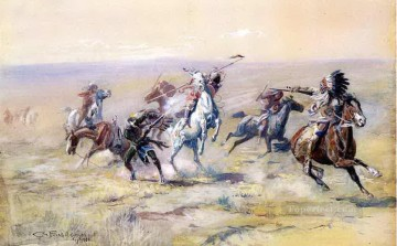 when sioux and blackfoot meet 1904 Charles Marion Russell Oil Paintings