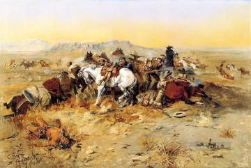 A Desperate Stand cowboy Indians western American Charles Marion Russell Oil Paintings