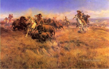 cowboy Art Painting - Running Buffalo cowboy Indians western American Charles Marion Russell
