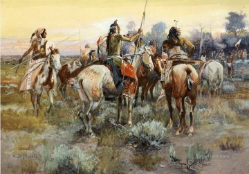 Russell Canvas - The Truce Indians western American Charles Marion Russell